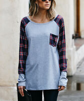 Grey Plaid T-Shirt Size 12 Ladies Womens Long Sleeved Top Tee With Top Pocket