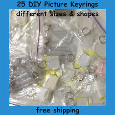 25 Clear Acrylic Assorted Keyrings DIY Snap Together Picture Keychain Craft  NEW