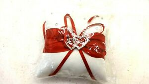 """WEDDING RING CUSHION PILLOW RED/WHITE 3.5"""" SQUARE"""