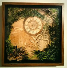Vintage Elgin Art Decor Shadowbox Wall Clock (Butterfly design)