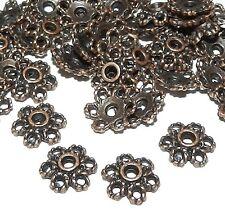 M363f Antiqued Copper 10mm Round Open 6-Petal Filigree Flower Bead Caps 20/pkg