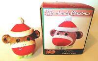 Sock Monkey Christmas Candy Jar Cracker Barrel Serve Ware Sock Monkey Treat Jar