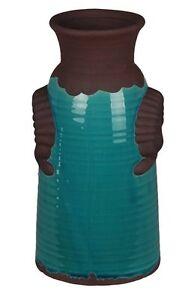 "Privilege International 84136 Blue/Brown Antique Ceramic Vase 6""x 6"" x 12"""
