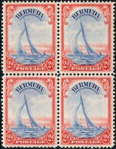 Bermuda 1940 KGVI 2d Ultramarine & Scarlet   Block of 4  SG.112a Mint (MNH)