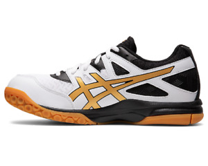 Asics Hommes Volley Chaussures SPORTS Style Athlétique Gym Blanc Pure Or