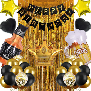 Birthday Decorations for Men, Birthday Party Decorations for Him Her, Happy Gold