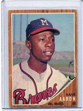 1962 Topps Baseball Card Hank Aaron H O F Milwaukee Braves EX MINT # 320