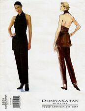 1998 Donna Karan Vogue 2231 Wrap Halter Top Pants 12/14/16 Pattern Uncut New OOP