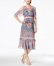 New $240 Jax Black Label Women'S Pink Floral Printed Cold Shoulder Dress Size 12
