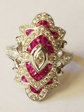 Beverley K 18 K White Gold ring with Rubies and Diamonds