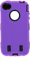 for iPhone 4 4G 4S  Purple & Black Impact Armor Hard & Soft Rubber Case Cover