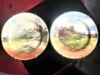 Pair Royal Doulton Rustic England 8.1/2in (22cm) Cabinet Display Plates, Perfect