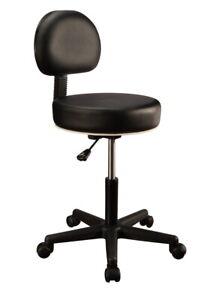 Master Massage Rolling Salon Swivel Adjustable Stool Backrest