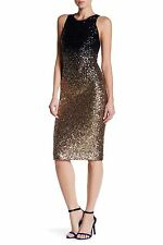 12 NICOLE MILLER Navy Blue Gold Sequin Ombre Midi Sleeveless Cocktail Dress NWT