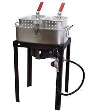 Commercial Grade Propane Gas Dual Basket Outdoor Fryer 18Qt Deep Fry Fish Wings