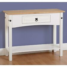 Seconique CORONA White & Distressed Waxed Pine 1 Drawer Console Table With Shelf