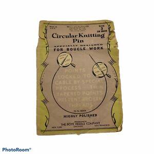"""Boye Circular Knitting Boucle Pin Size 3 29 """" Chicago USA Vintage crafts"""