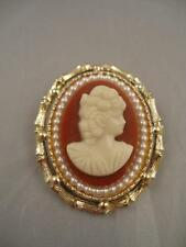 Vintage RARE un signed Cameo Pin Brooch Bamboo with Pearl trim gold colored