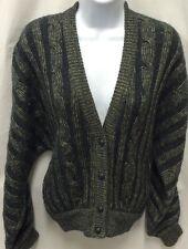 Valentino Studio Women's Boyfriend Cardigan Preppy Wool Mohair Gray Beige Sz 10