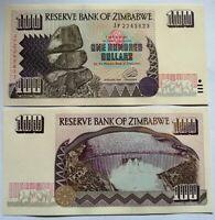 ZIMBABWE 100 dólares 1995, P-9a. Plancha UNC,