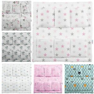 COT TIDY BABY 100% COTTON ORGANISER BED NURSERY HANGING STORAGE 6 POCKETS