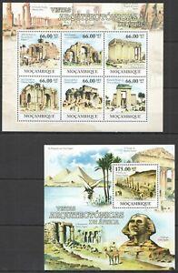 BC1227 2011 MOZAMBIQUE VISITS AFRICAN ARCHITECTURE EGYPT ALGERIA BL+KB MNH