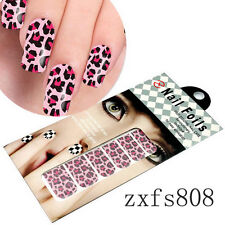 US Stock 1x Nail Art Foil Stickers Foils Red Base Leopard Print Design US Ship