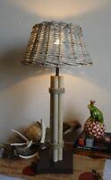 Tischleuchte Rattan Schirm Rund Leuchte Maritim Lampe Landhaus H60 cm NEU