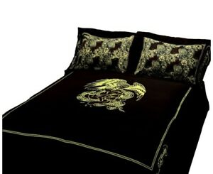 Ed Hardy Queen Sheet Set Eagle Gold Black On Bedding By Christian Audigier NEW
