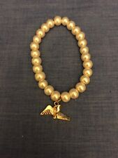 Krewe of Hermes Faux Pearl Bracelet Gold Colored Charm  NEW ORLEANS MARDI GRAS