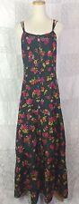 Johnny Was 100% Silk Floral Maxi Ruffle Hem Dress w UnderSlip Dark Green Pink XS