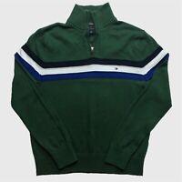 Womens Tommy Hilfiger Quarter Zip Jumper Large Green Stripe 100% Cotton