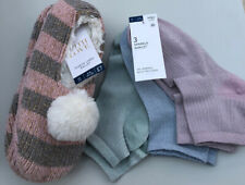 M&S Ladies Fur Lined Ballet Slippers And 3 Pack Socks Size 3-5 UK