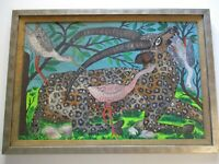 VINTAGE LARGE HAITIAN OIL PAINTING ROGER FRANCOIS SIGNED ANIMALS PRIMITIVE MOD
