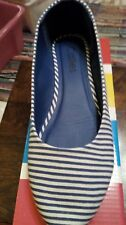 Callies Womens Blue/white striped flats,ballet,canvas slip on shoes UK 5