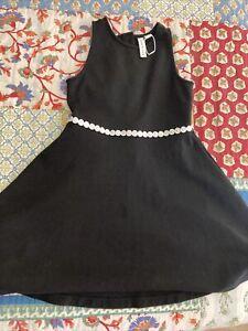 Janie and Jack girls size 6 black white trim dress
