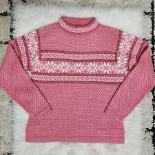 Alpaca Imports Womens Pink Fair Isle Steamboat Springs Co Sweater Medium