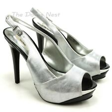 Simply Vera Wang Women's Silver Open Toe Stiletto Heels (Size 9)