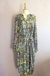 Per Una Size 20 Black Mustard Olive Flame + Lilac Floral Print MIDI Dress NEW