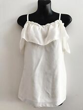 WITCHERY IVORY SILK FRILL TOP SIZE S AS NEW