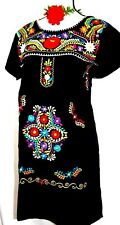 VTG Mexico Black Dress Women Knee length Floral embroidery Peasant L/XL Cotton