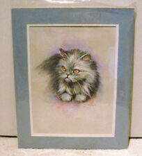 Doris Hays 1990 Artist Original Pastel Gray Persian Cat Unframed Painting