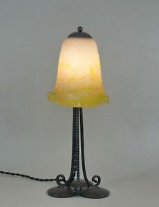 DEGUÉ : FRENCH 1930 ART DECO LAMP .. wrought iron ....................... France