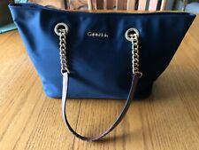 Calvin Klein Navy Blue Purse Handbag Nylon Tote Gold Chain H4AAE2DX // CHCUL894