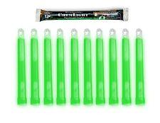"""Lot 10 Cyalume Military Grade Chemical Light Sticks Green 6"""" Long 12 HR Prepper"""