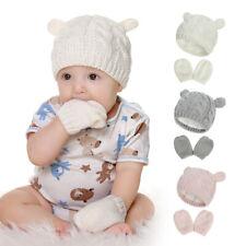 Boys Girls Winter 0-18 Months Knitted Thicken Baby Hats Gloves Set Beanie Warm