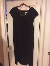 NEW GEMINI II BLACK GOWN W JEWELS ON NECKLINE UNIQUE SIZE 20