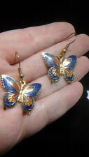 Preloved gold Tone and blue Butterfly Cloisonné Enamel hook Pierced earrings
