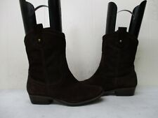 Fossil Brown Suede Leather Cowboy Fashion Boots Womens Size 7