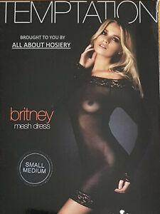 Ann Summers Britney Black Bodycon Bodystocking Mesh Lace Dress S/M 8-14 FREE P&P